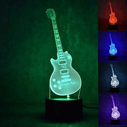 3D Music Electric Guitar Night Light 7 Color Change LED Tabl