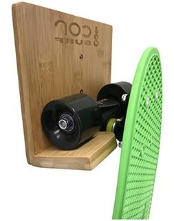Bamboo Skateboard Wall Rack | Mount for Storing Your Skatebo