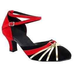 Women Low Heels Pumps Closed Toe Ankle Strap Dressy Shoes Me