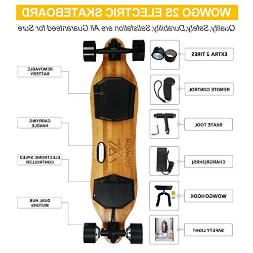 WOWGO 2S Electric Skateboard, 38Km/H Load 25%-30%, Remote Control