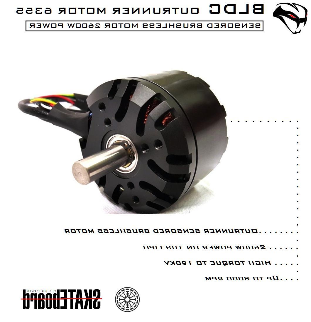 6355 outrunner brushless motor 190kv 2600w 10s