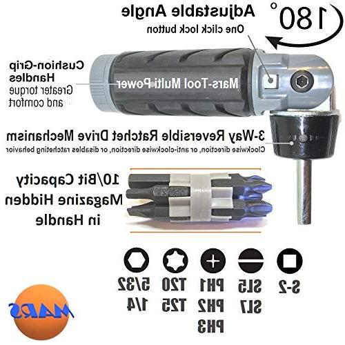 10 in Multibit ADJUSTABLE SCREWDRIVER SET Torque Grade Big for Hand Compact Multi