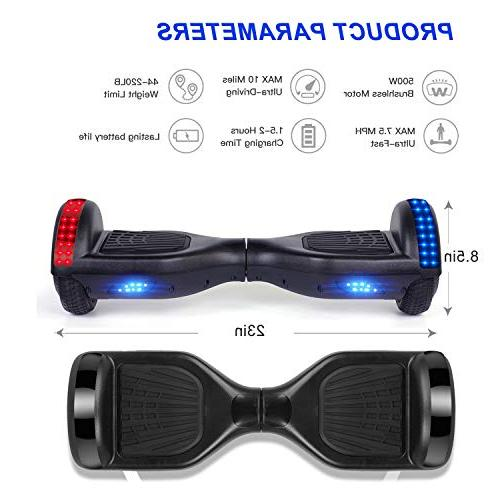 VEVELINE Black Hoverboard Scooter with Built-in Bluetooth Speaker LED Side 2272 Certified