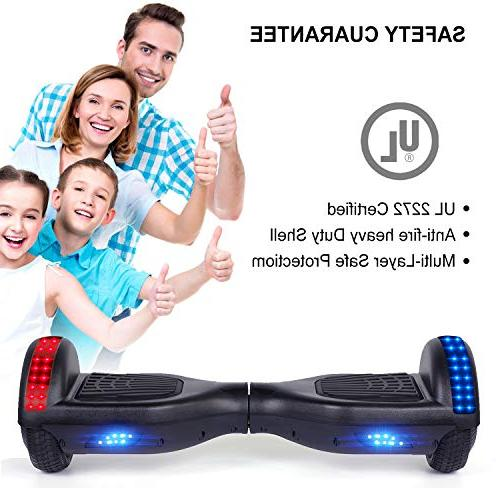 VEVELINE Black Two-Wheel Self Hoverboard Balancing with LED Wheels and LED Side Certified