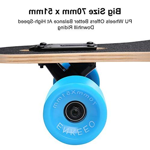 ENKEEO 40 Inch Drop-Through Longboard Skateboard Carving Cruising Riding - Painting