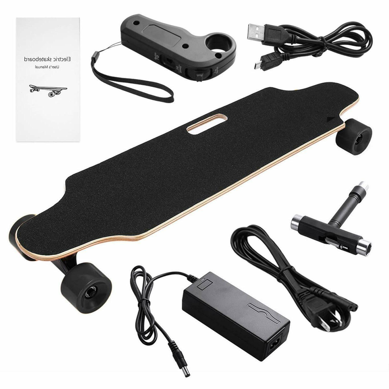 Electric Skateboard Longboard Maple Wood Long Board Remote C
