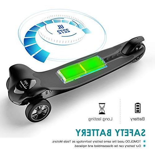 TOMOLOO Three Wheels for 265 lbs and Smart Electric Scooter Motorized Longboard Children