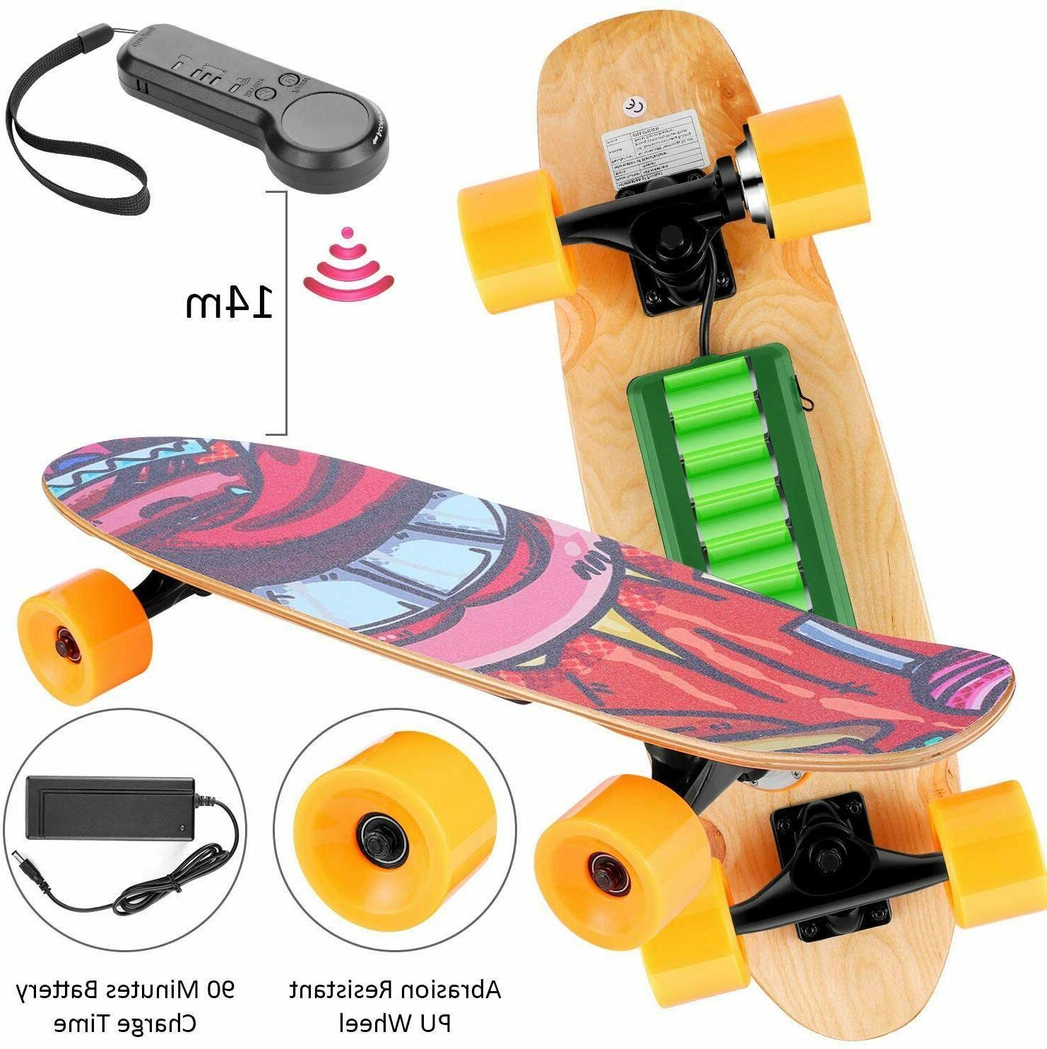 WOOKRAYS Skateboard+Wireless Remote Contro,350W Max Mapl
