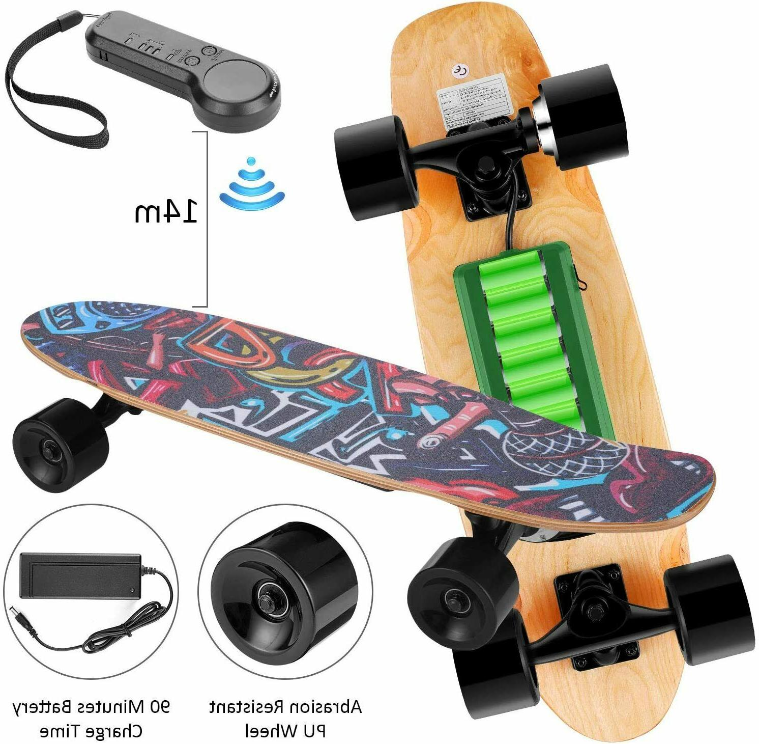 WOOKRAYS Electric Skateboard+Wireless Remote Mapl