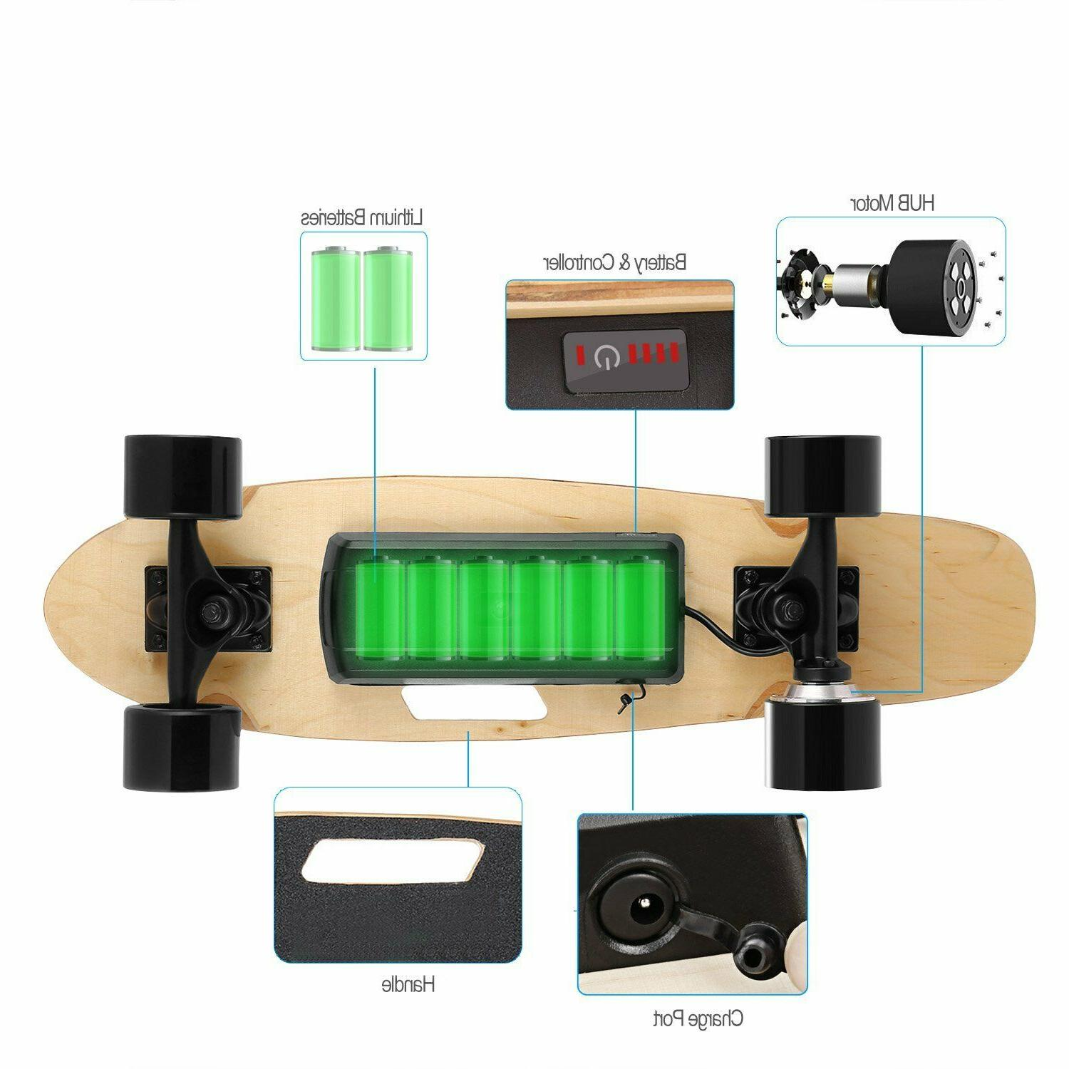 Mini Electric Motor Longboard Board Wireless w/Remote Control
