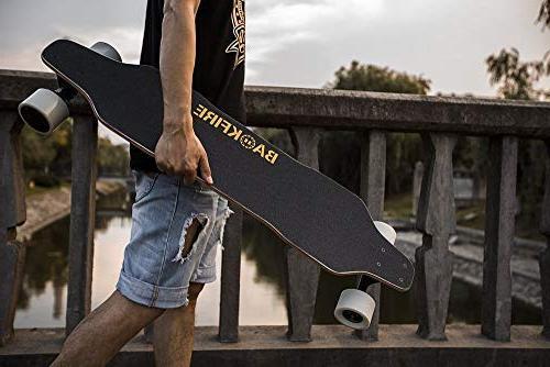 BACKFIRE Electric Longboard & Hub Skateboard- Black Replaceable Wheels & 96mm