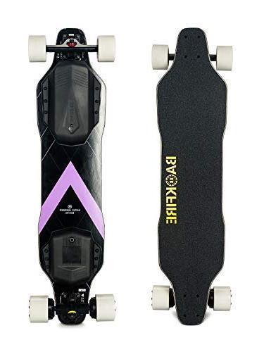 BACKFIRE Longboard & Hub Motor Skateboard- Black 23 mph Top Replaceable 96mm Wheels