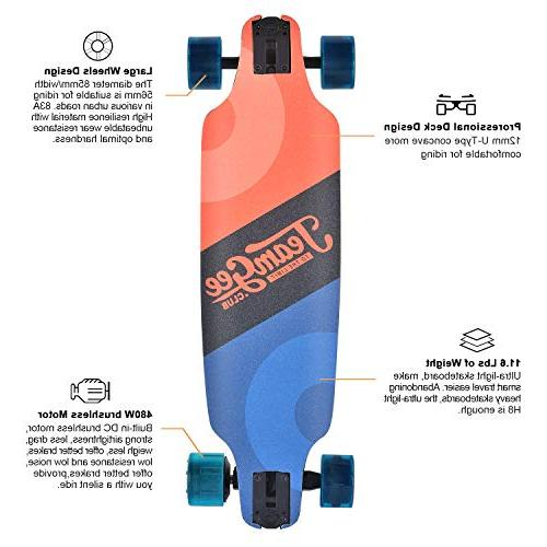 teamgee Skateboard, 15 MPH Top Speed, 480W Miles Range, 11.6 10 Layers with Wireless