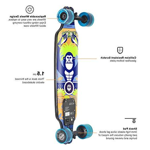 Skateboard, 15 MPH Top Speed, Miles 11.6 10 with Remote Control