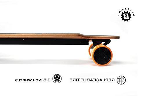 "BLITZART Dual Longboard Skateboard 3"" Wheels Tires"
