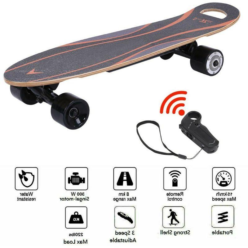 """27"""" Electric Skateboard 350W 3 Speed Longboard w/ Wireless R"""
