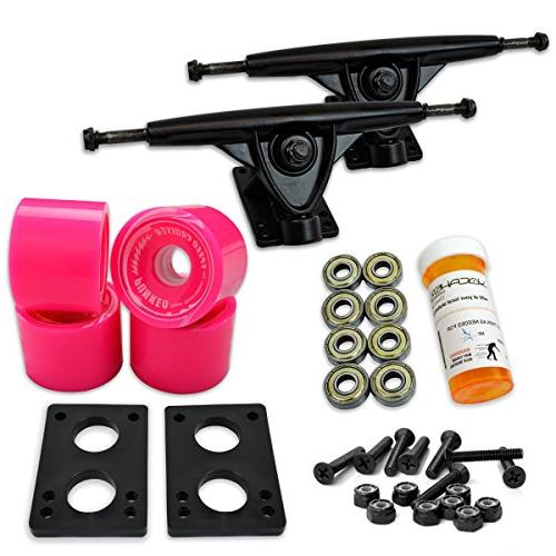 "Yocaher LONGBOARD COMBO WHEELS 9.675"" trucks Pink Wheel, Polished"
