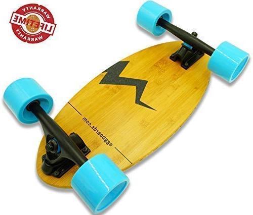 Eggboards Mini Longboard Cruiser Skateboards Mini Skateboard with Wide Skateboard Deck 19 Bamboo Longboards