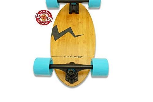 Eggboards Cruiser Skateboards - Mini Skateboard with Wide Skateboard Deck 19 inch Bamboo Wood Big Longboards