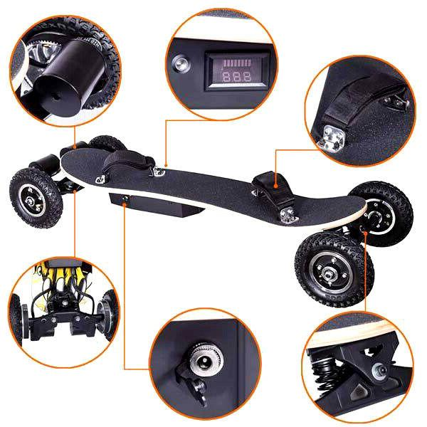 New Electric Off Road Skateboard Mountain Board Scooter w/ Remote Tires
