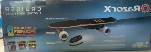 new x electric skateboard cruiser black