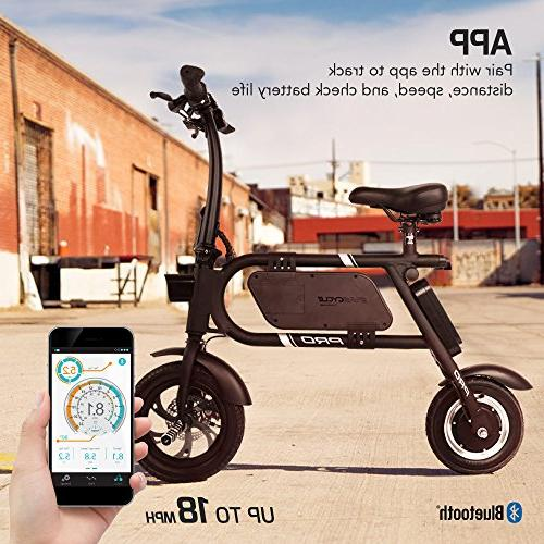 SwagCycle Pro Folding Electric Bike, Free App 18 mph E with Port Charge The Go