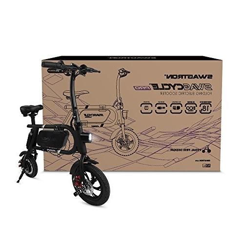 SwagCycle Folding Electric Bike, Free E Bike with USB Port to Charge on The