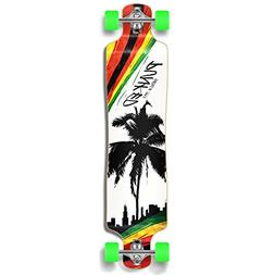 Yocaher Punked Palm City Rasta Longboard Complete Skateboard
