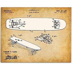 Skateboard - 11x14 Unframed Patent Print - Great Gift for Sk